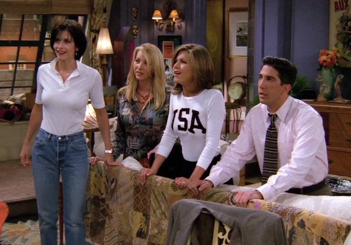 "Courteney Cox, Lisa Kudrow, Jennifer Aniston, and David Schwimmer in ""Friends"" season 2"