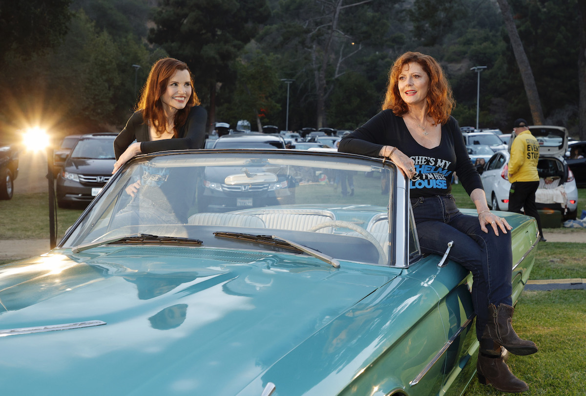 """Geena Davis and Susan Sarandon attend """"Thelma And Louise"""" 30th Anniversary drive-in charity screening experience hosted by MGM and Cinespia at The Greek Theatre on June 18, 2021 in Los Angeles, California."""