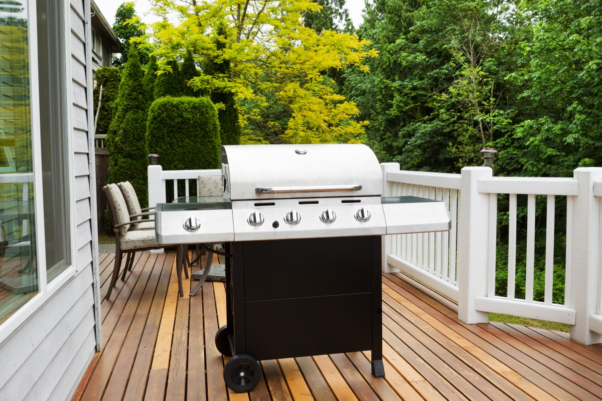 grill on wooden deck