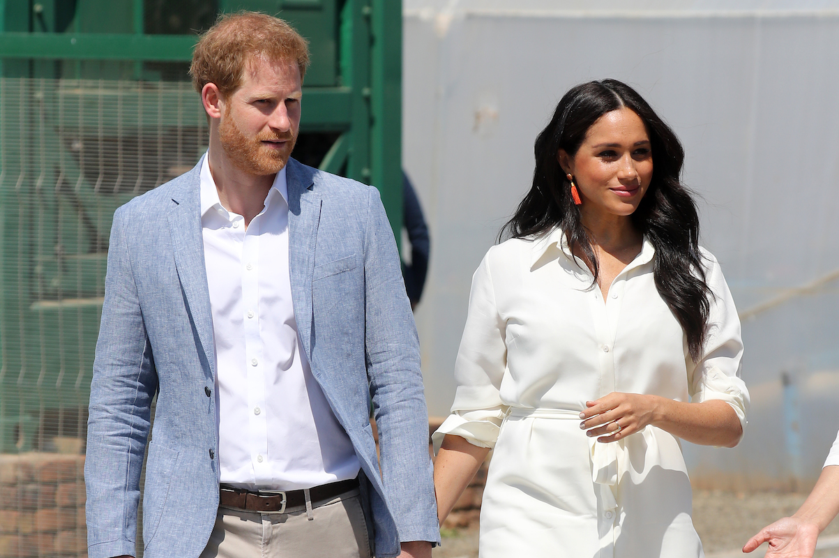 Prince Harry, Duke of Sussex and Meghan, Duchess of Sussex visit a township to learn about Youth Employment Services on October 02, 2019 in Johannesburg, South Africa.