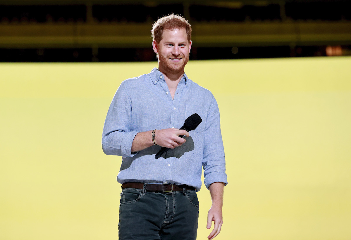 Prince Harry, The Duke of Sussex speaks onstage during Global Citizen VAX LIVE: The Concert To Reunite The World at SoFi Stadium in Inglewood, California.