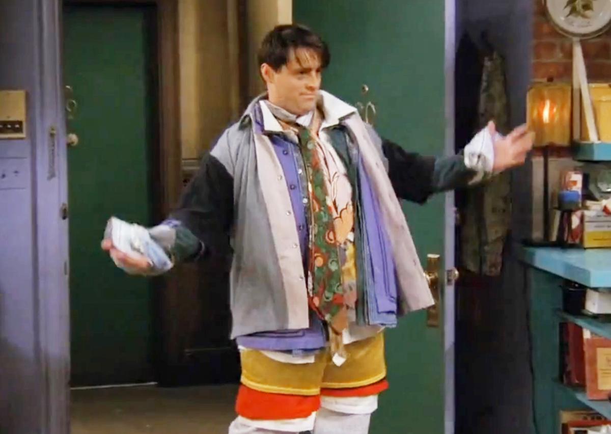 "Matt LeBlanc in ""Friends"" season 3 wearing all of Chandler's clothes"