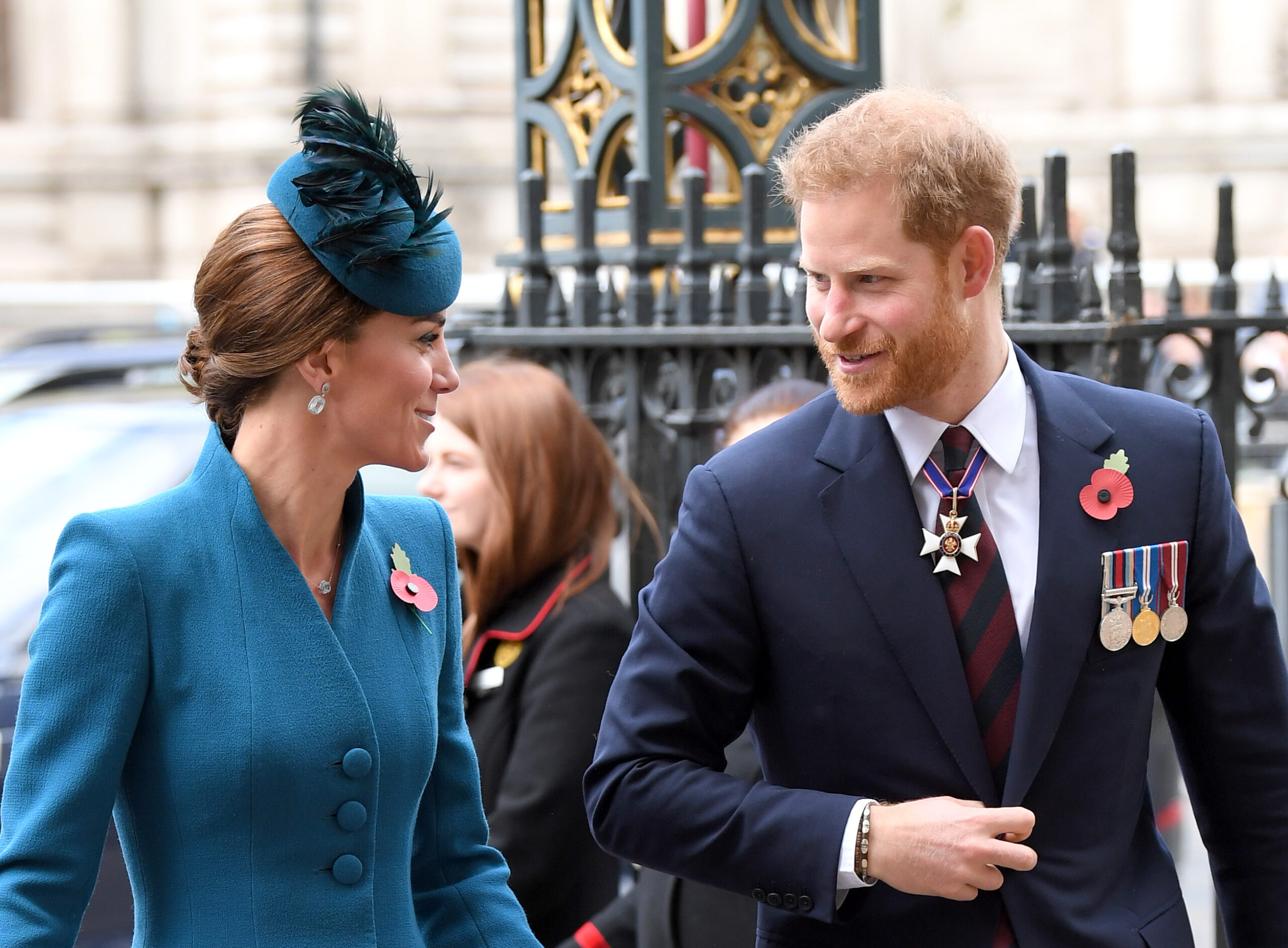 Catherine, Duchess of Cambridge and Prince Harry, Duke of Sussex attend the ANZAC Day Service of Commemoration and Thanksgiving at Westminster Abbey on April 25, 2019 in London, United Kingdom.
