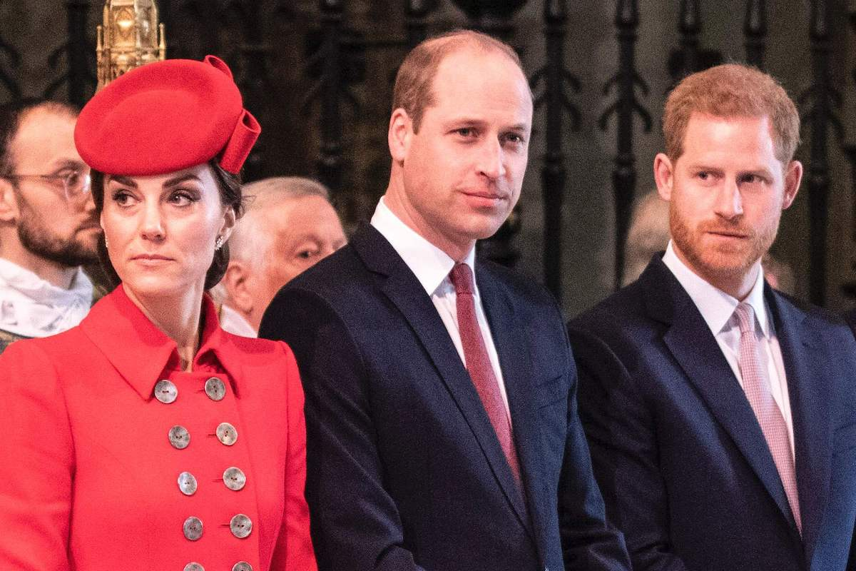 Britain's Catherine, Duchess of Cambridge, Britain's Prince William, Duke of Cambridge, and Britain's Prince Harry, Duke of Sussex attend the Commonwealth Day service at Westminster Abbey in London on March 11, 2019.