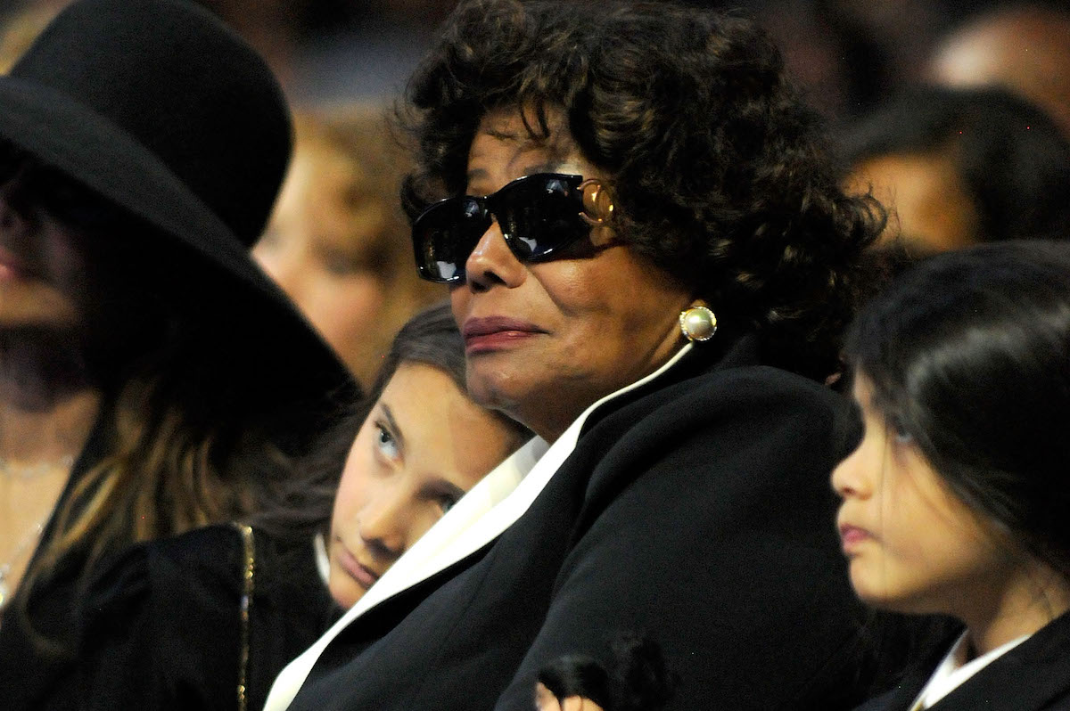 In this handout provided by Harrison Funk and Kevin Mazur, Paris Michael Katherine Jackson, Katherine Jackson and Prince Michael II attend Michael Jackson's Public Memorial Service held at Staples Center on July 7, 2009 in Los Angeles, California.