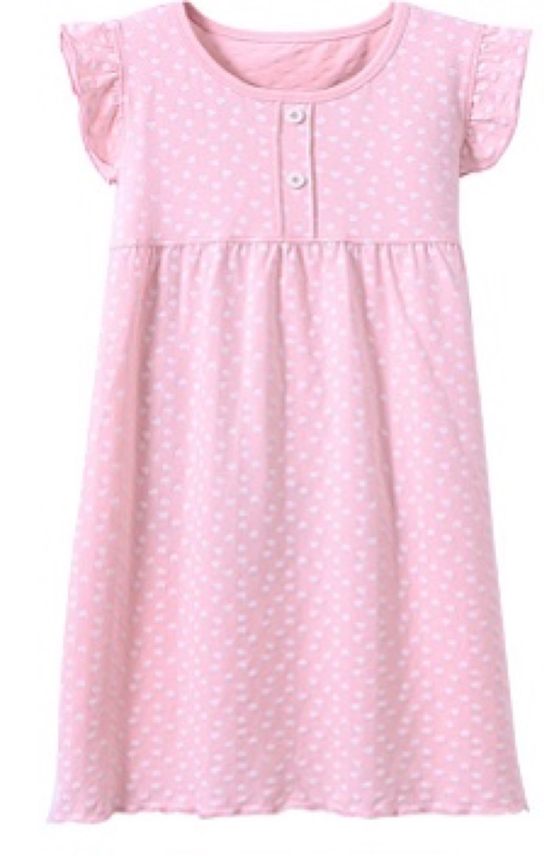 pink short-sleeved kids nightgown