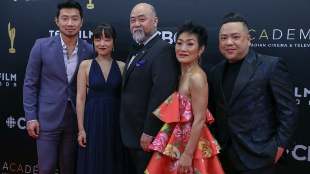 The cast of Kim's Convenience at a press event in Toronto