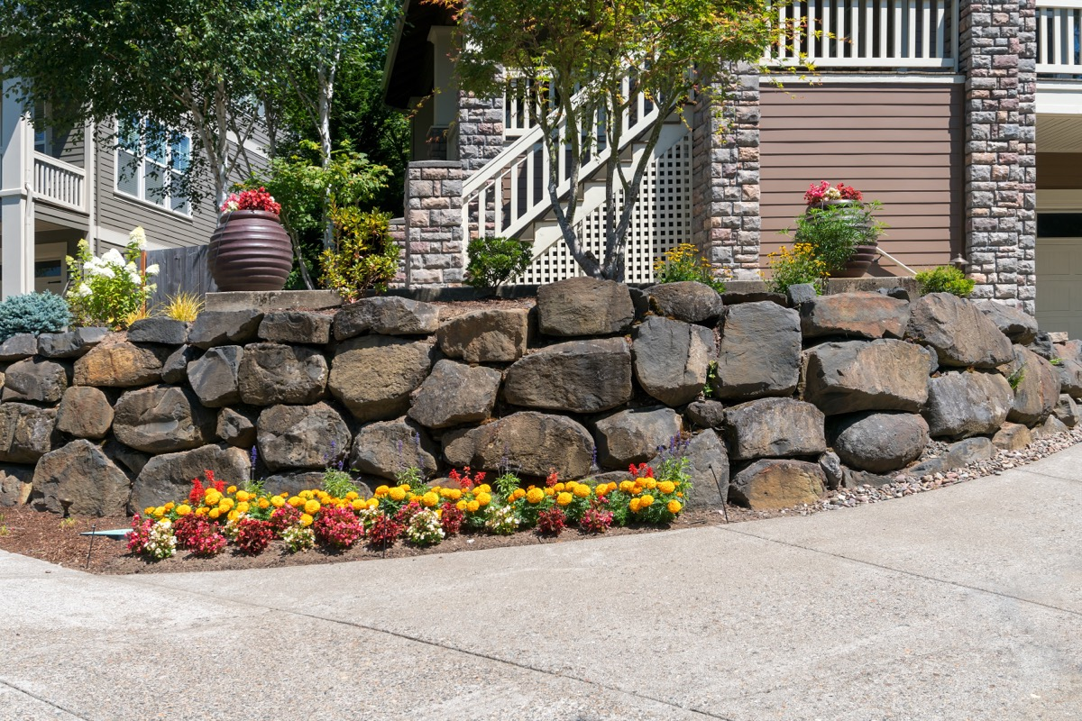 landcaping rocks in front of house