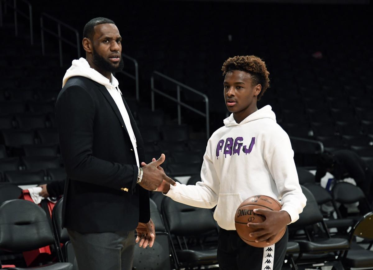 LeBron and Bronny James 2018