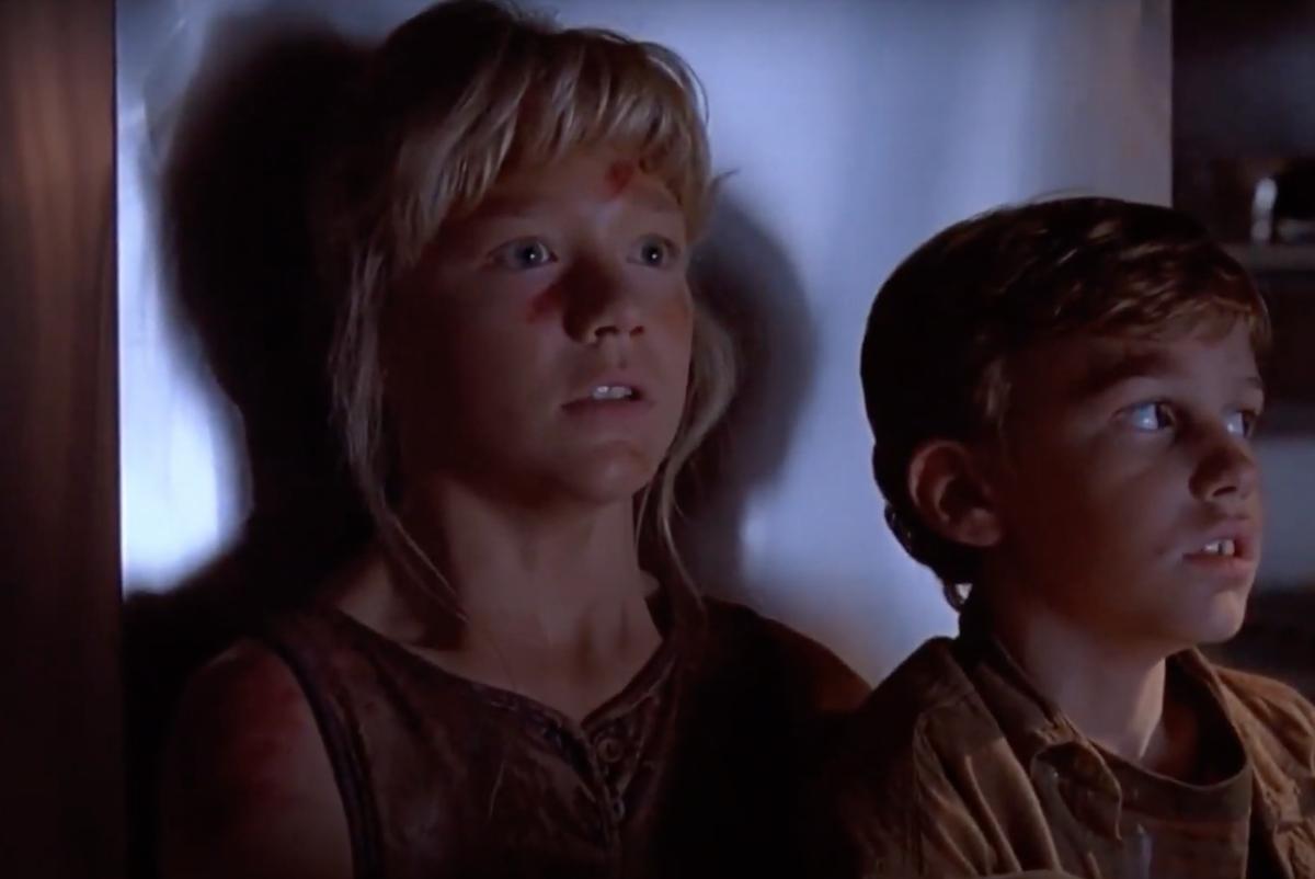 "Ariana Richards and Joseph Mazzello in ""Jurassic Park"""