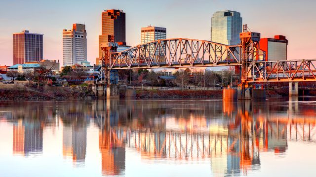 The skyline of Little Rock, Arkansas at dawn