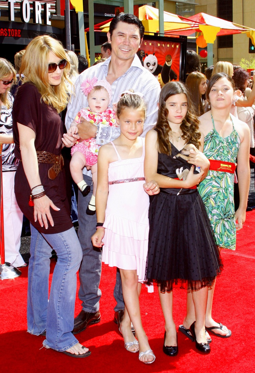 """Lou Diamond Phillips, wife Yvonne, kids Lili, Grace and Indigo attend the Los Angeles Premiere of """"Kung Fu Panda"""" held at the Grauman's Chinese Theater in Hollywood, United States on June 1, 2008."""