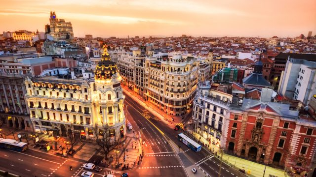 Madrid, Spain at sunset