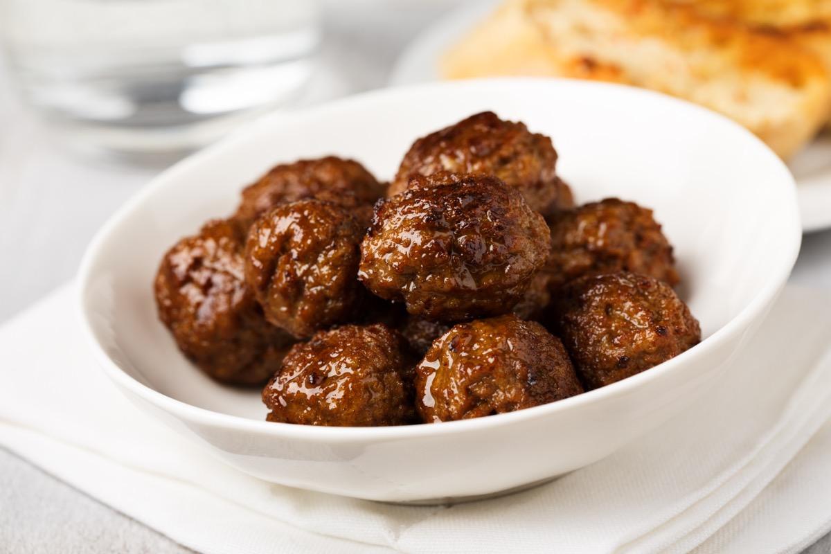 meatballs in white dish
