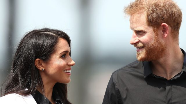 Meghan and Harry during the JLR Drive Day at Cockatoo Island on October 20, 2018 in Sydney, Australia.
