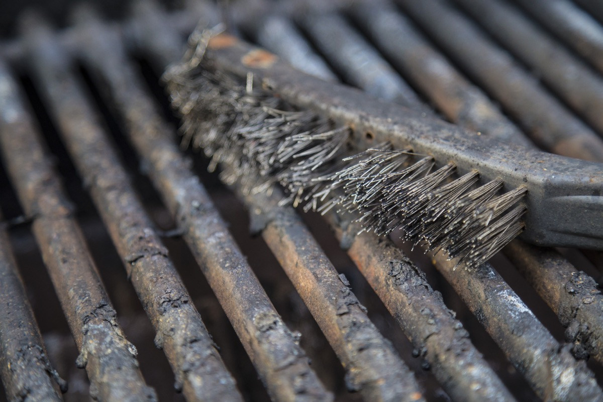metal grill brush on grill