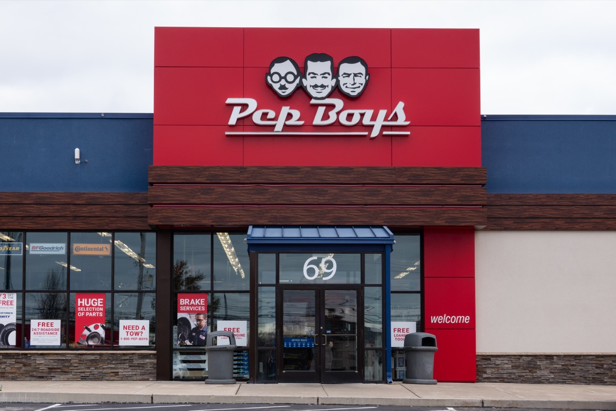 pep boys store exterior red sign