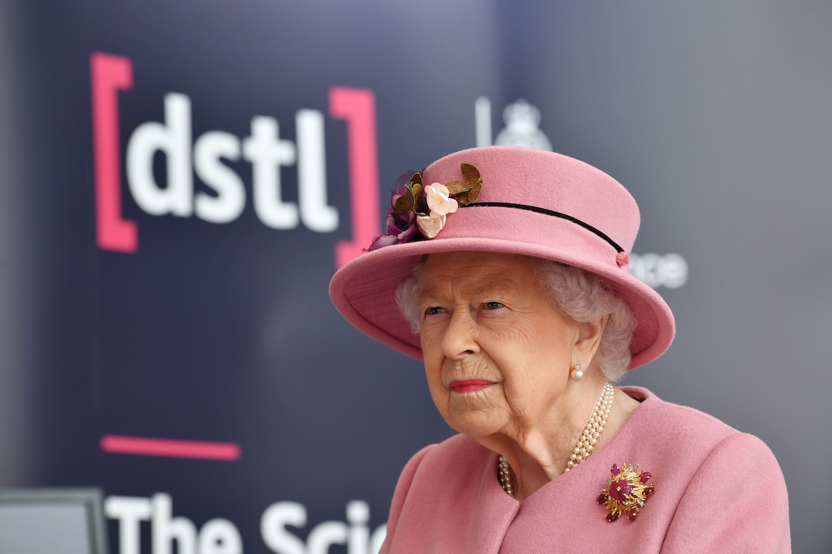 Britain's Queen Elizabeth II visits the Energetics Analysis Centre at the Defence Science and Technology Laboratory (Dstl) at Porton Down science park on October 15, 2020 near Salisbury, England.