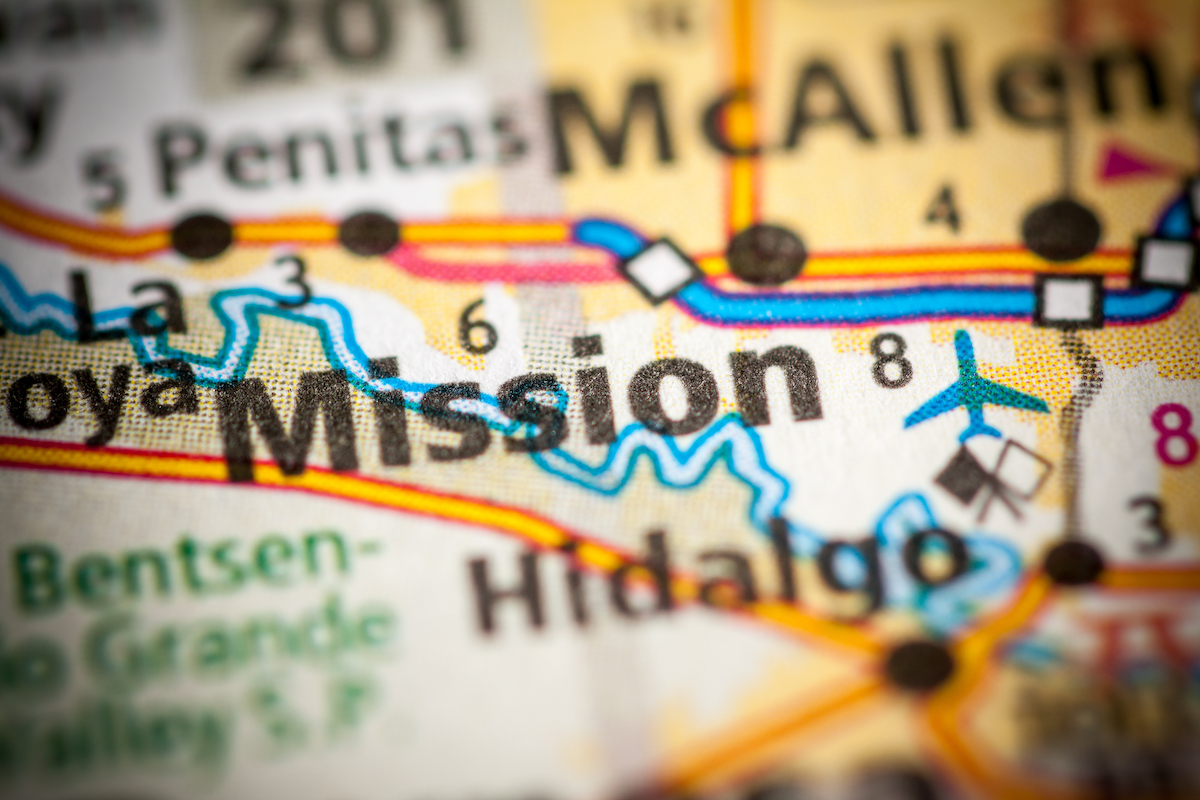 Mission, Texas on a map