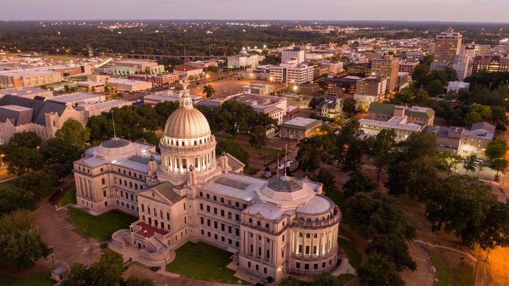 The skyline of Jackson, Mississippi at sunset