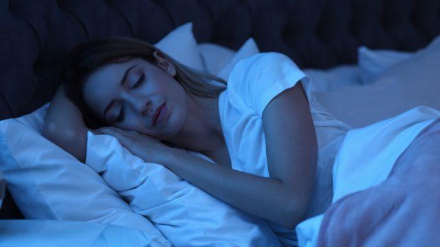 Woman sleeping at night