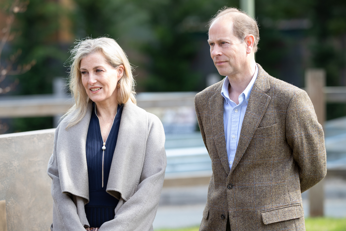 Sophie, Countess of Wessex and Prince Edward, Earl of Wessex at Frimley Park Hospital on May 12, 2021 in Camberley, England.