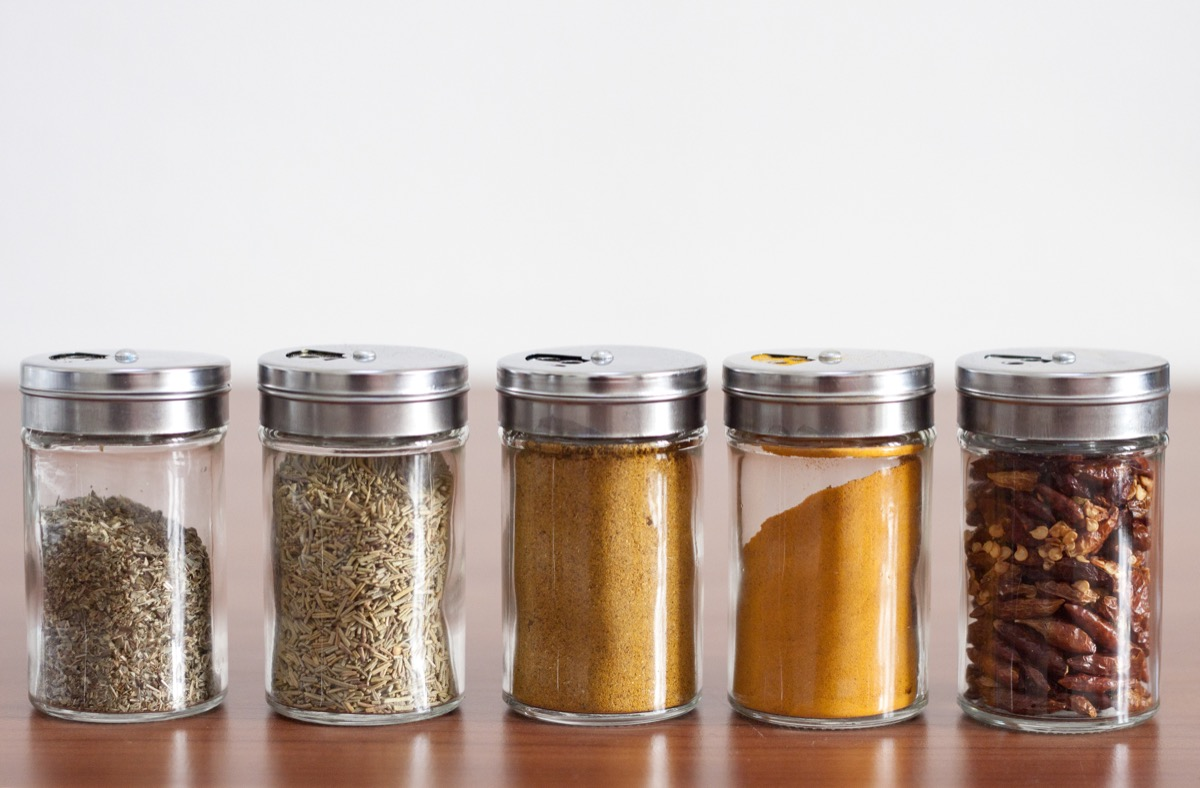 spices on counter in kitchen