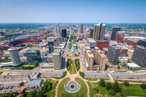 The skyline of St. Louis, Missouri
