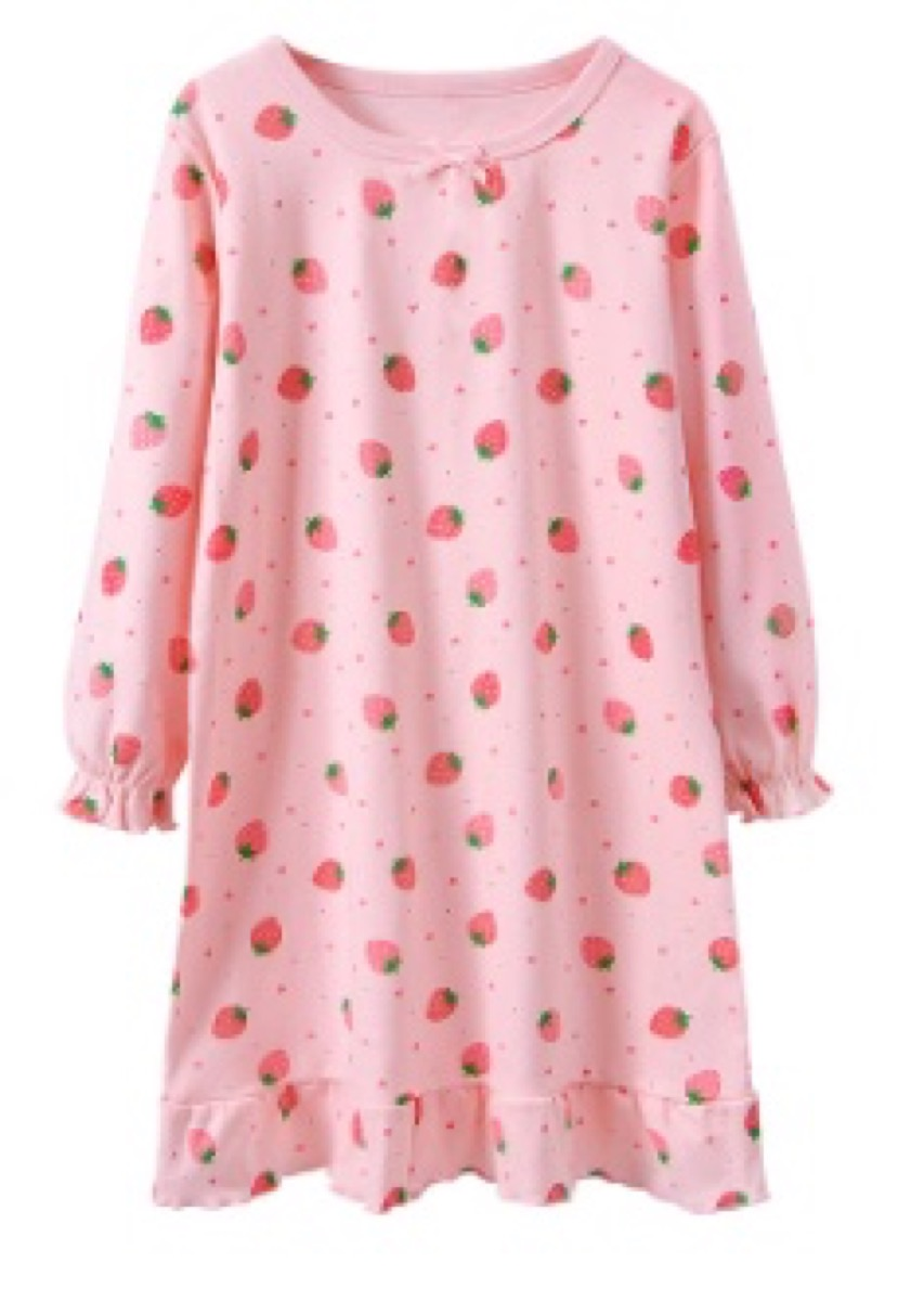 kids long sleeved strawberry print pink nightgown