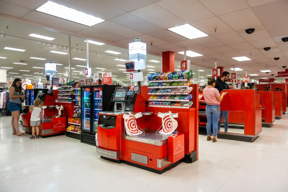 June 4, 2019 Mountain View / CA / USA - Self Checkout and Cash Registers area in a Target store in south San Francisco bay area