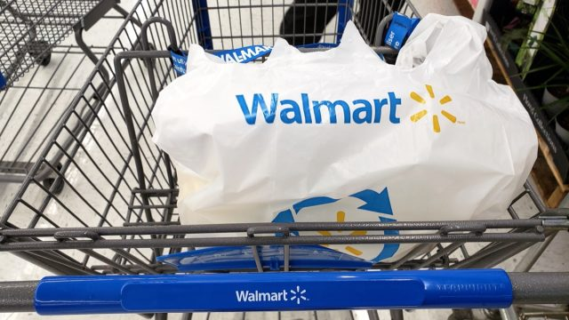 plastic walmart bag in shopping cart