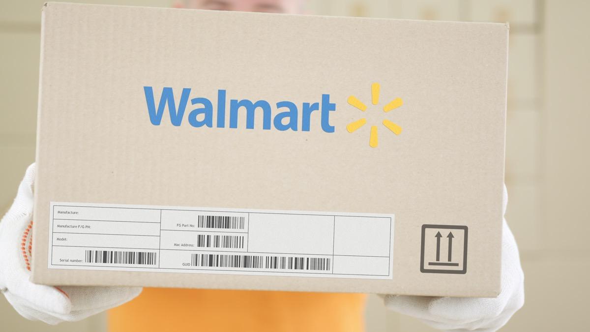 Carton with printed WALMART logo. Editorial conceptual shot