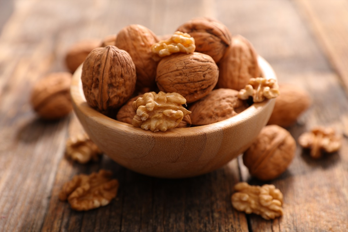 bowl of walnuts on table