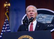 Washington DC, USA - FEBRUARY 10 2021: President Joe Biden delivers remarks to Department of Defense personnel, with Vice President Kamala Harris and Secretary of Defense Lloyd J. Austin III