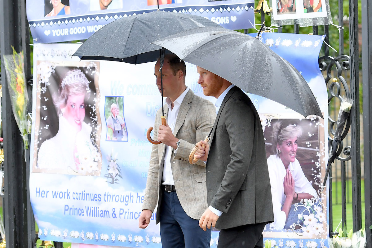 Prince Harry and Prince William meet well wishers and views tributes to Princess Diana after a visit to The Sunken Garden at Kensington Palace on August 30, 2017 in London, England.