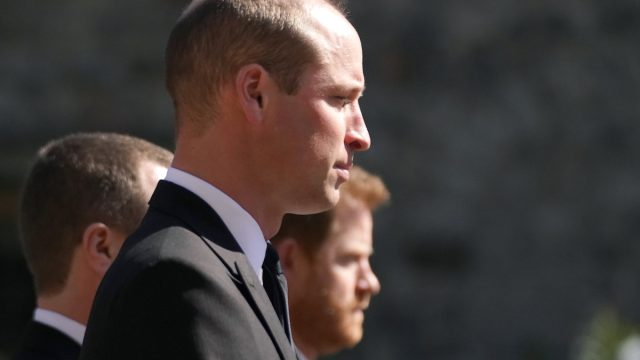 The Duke of Cambridge walking in the procession at Windsor Castle, Berkshire, during the funeral of the Duke of Edinburgh. Picture date: Saturday April 17, 2021.