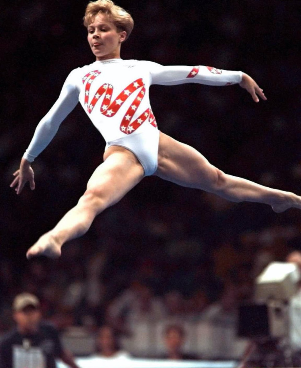 Amanda Borden performing her floor exercise at the 1996 Olympic trials