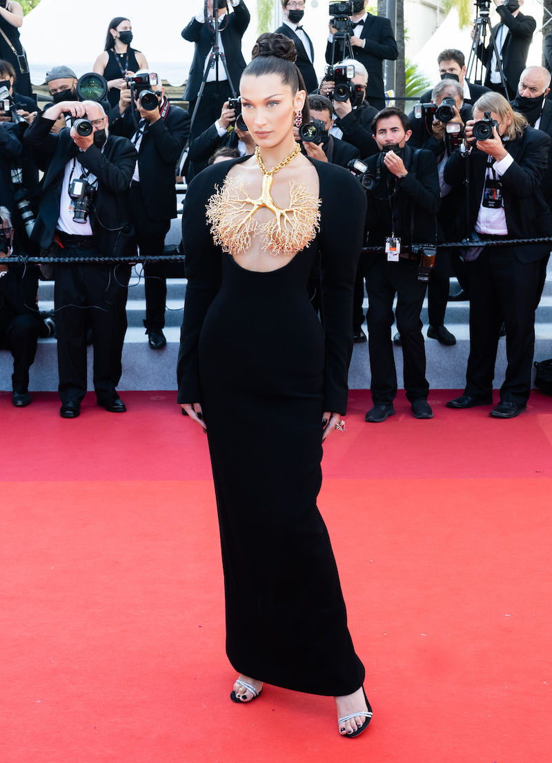 """Bella Hadid at the Cannes premiere of """"Tre Piani"""" on July 11, 2021"""