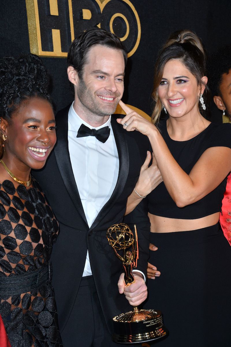 Kirby Howell-Baptiste, Bill Hader, and D'Arcy Carden at the HBO Emmy Party in 2018