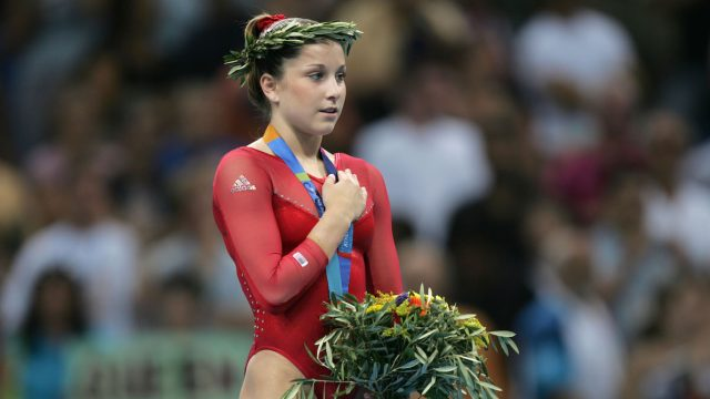 Carly Patterson on the medal podium at the 2004 Olympics.