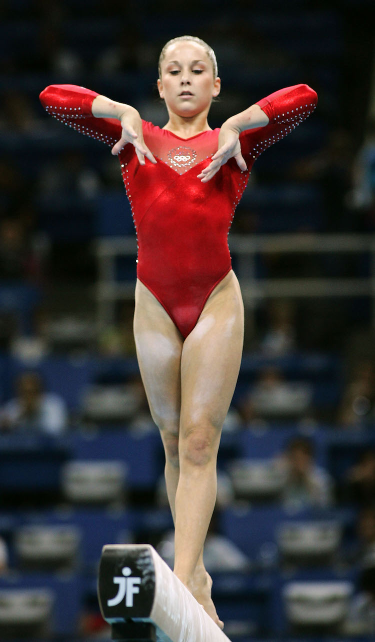 Carly Patterson on the balance beam at the 2004 Olympics