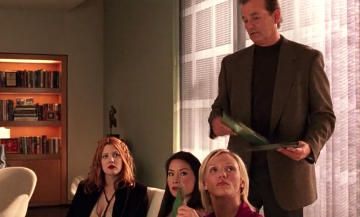 """Drew Barrymore, Lucy Liu, Bill Murray, and Cameron Diaz in """"Charlie's Angels"""""""