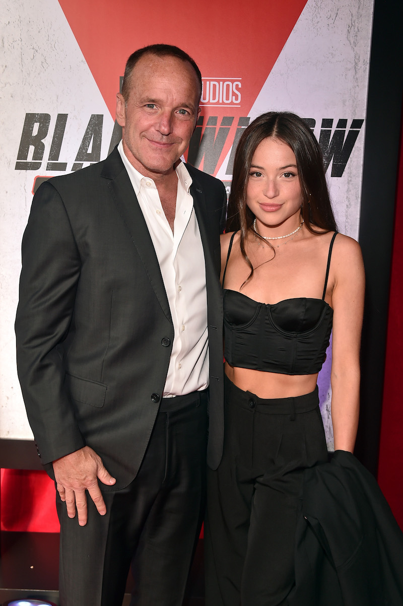 """Clark and Stella Gregg at the premiere of """"Black Widow"""" in June 2021"""