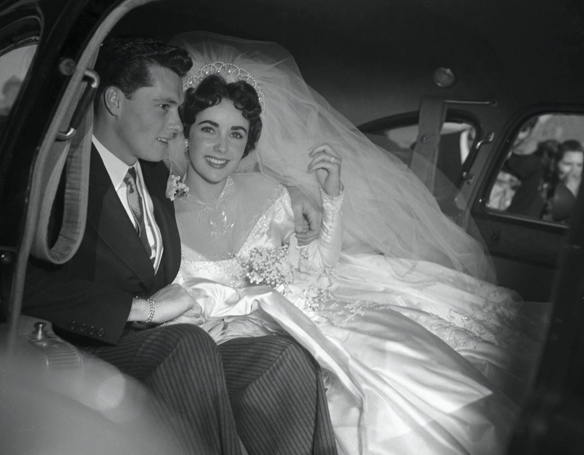 Conrad Hilton Jr and Elizabeth Taylor after their wedding