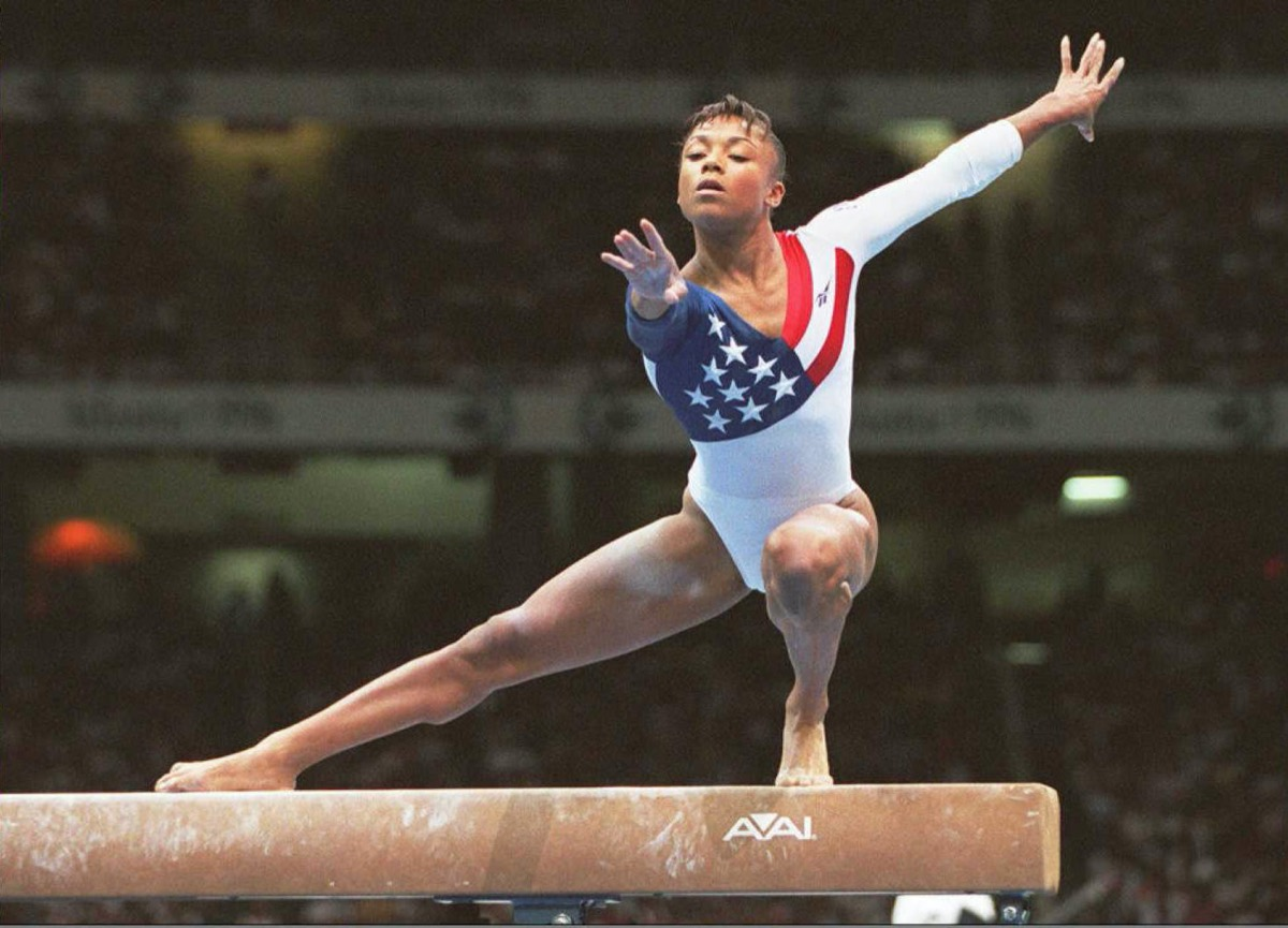Dominique Dawes on the balance beam at the 1996 Olympics