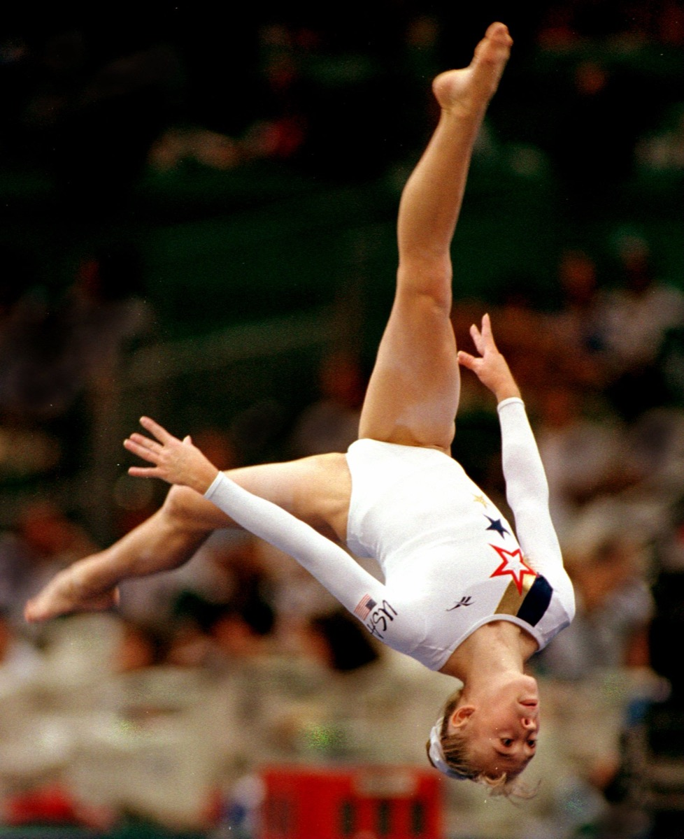 Kaycie Phelps performing her floor exercise at the 1996 Olympics