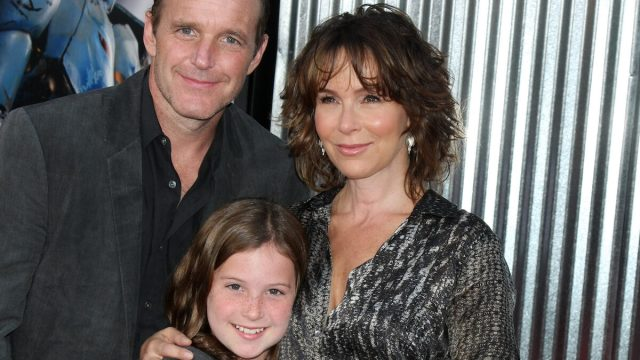 """Clark Gregg, Jennifer Grey, and daughter Stella at the premiere of """"Real Steel"""" in 2011"""