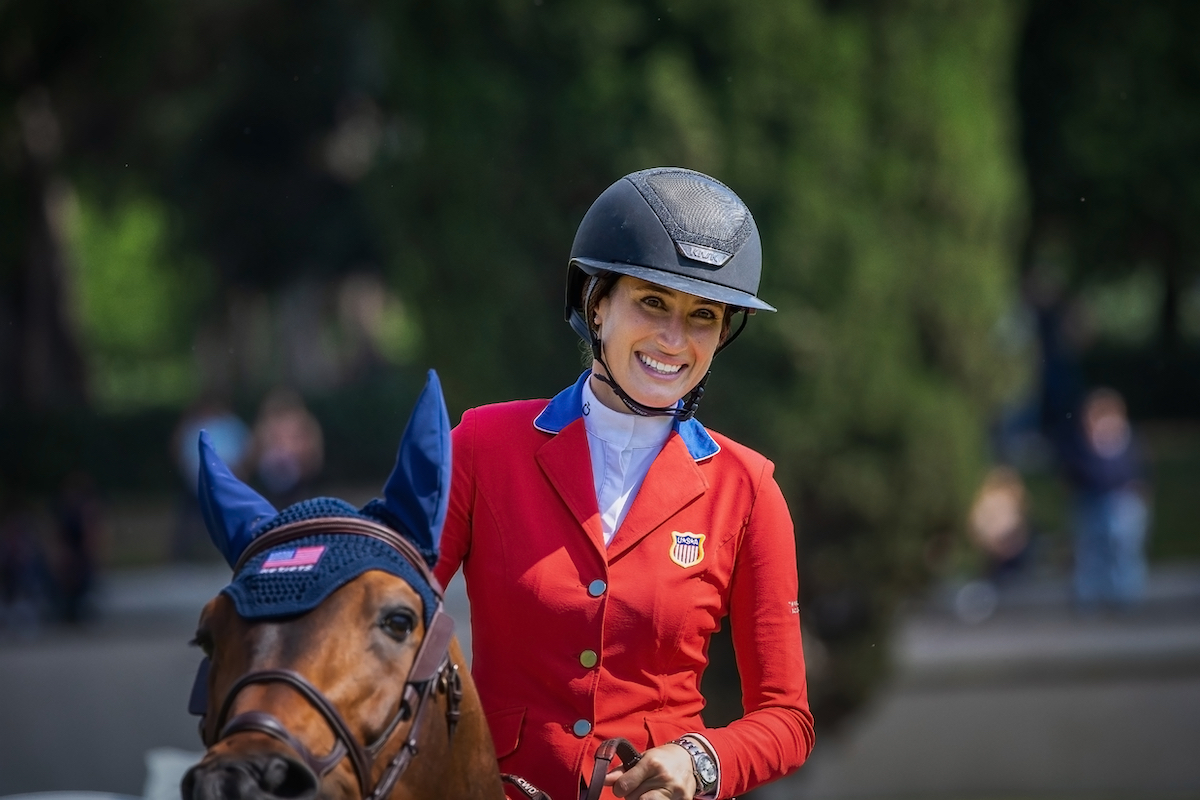 Jessica Springsteen riding in the Rolex Grand Prix Rome in May 2021