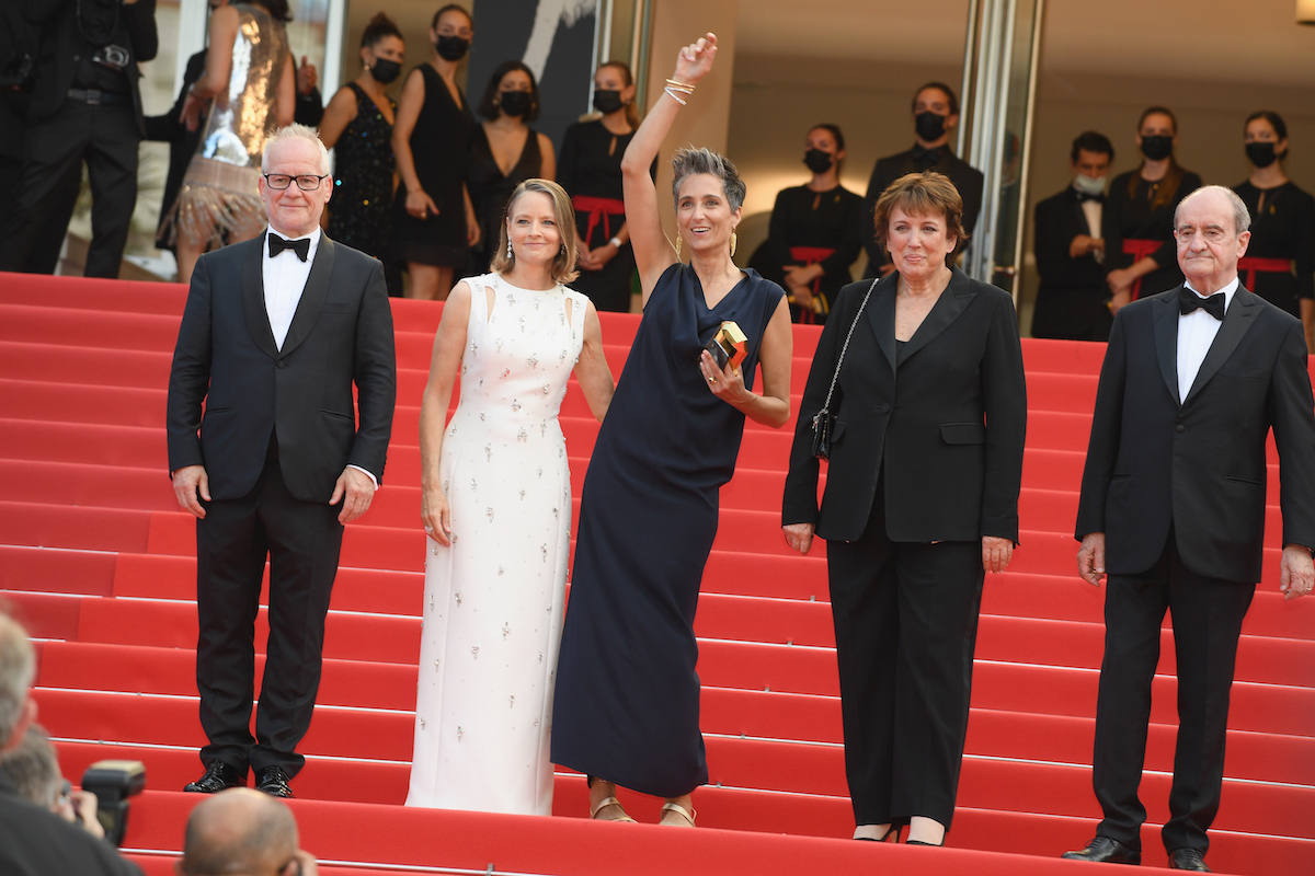 Thierry Frémaux, Jodie Foster, Alexandra Hedison, Roselyne Bachelot, and Pierre Lescure at the Cannes Film Festival in July 2021