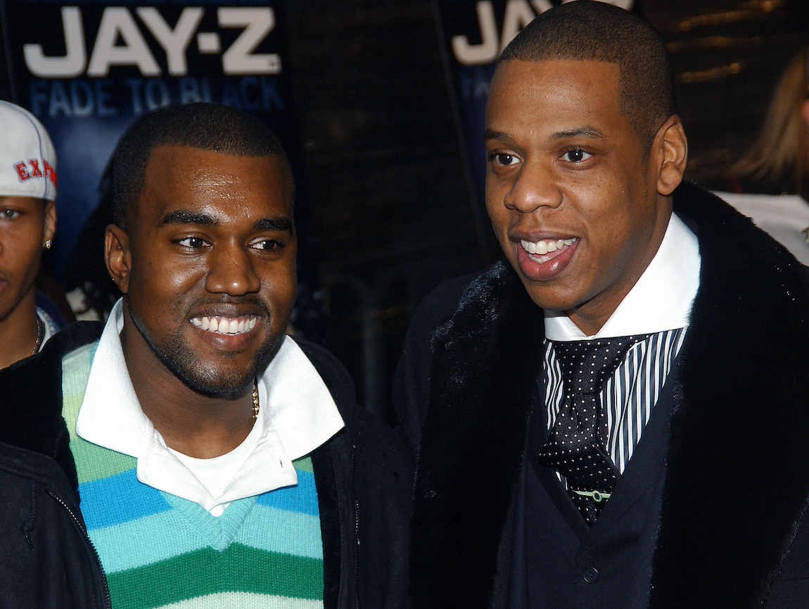 """Kanye West and Jay-Z at the premiere of """"Fade to Black"""" in 2004"""